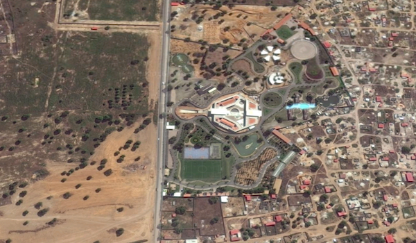 The disputed land (left), and the minister's property (right).